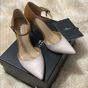 Coach white and tan pointed toe strap pumps